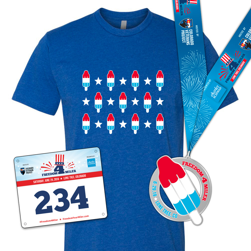 Freedom 4 Miler 2019 T-shirt, race bib, and finisher's medal